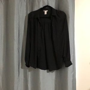 Loose fitting black button up shirt